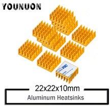 10Pcs YOUNUON Golden 22x22x10mm Aluminum Heatsink Cooler Circuit Board Cooling Fin for Raspberry Pi VGA RAM IC Chips Mosfet SCR ltc1255is8 trpbf ic mosfet dvr hi side двойной полумостовую 8soic ltc1255is8 1255 ltc1255 ltc1255i 1255i c1255