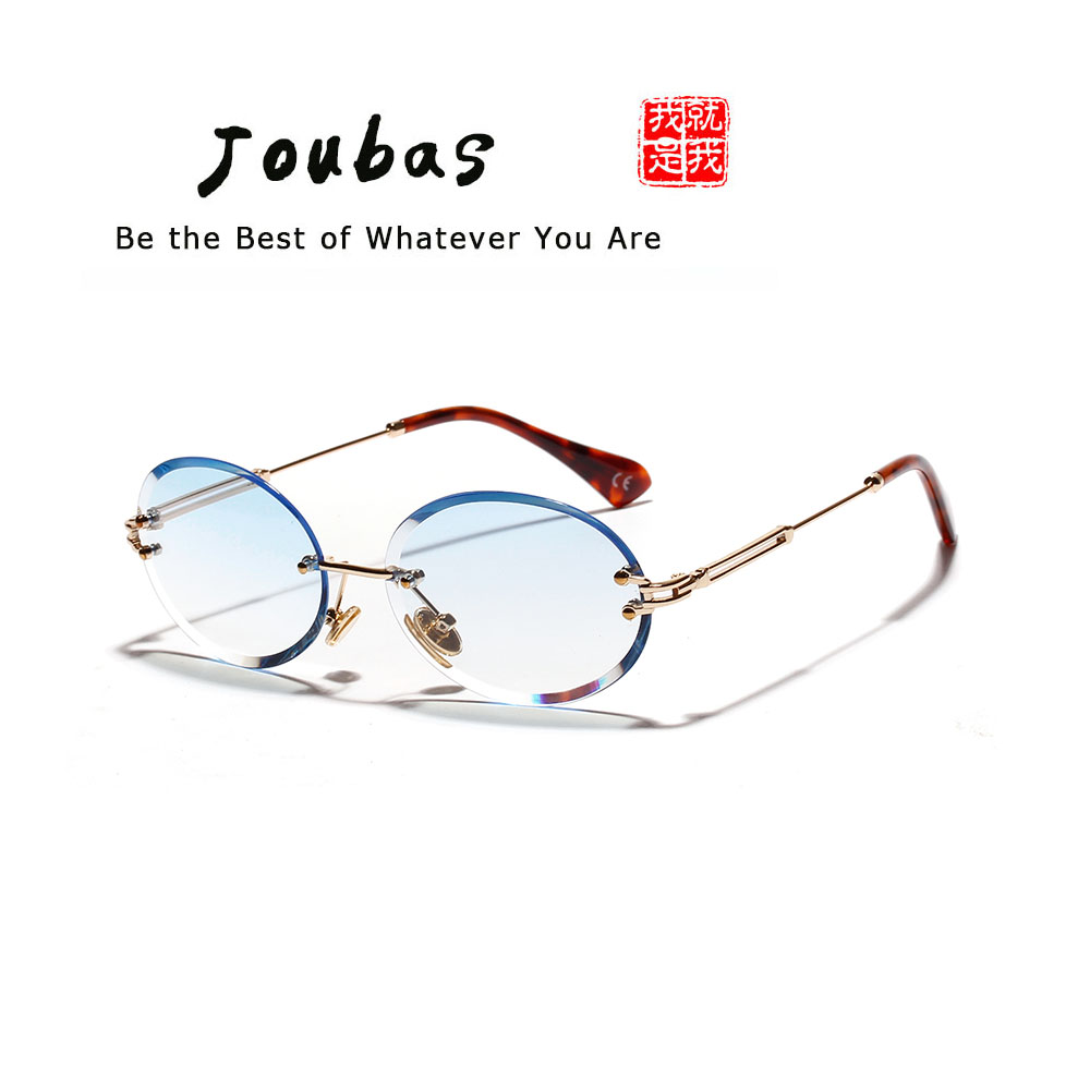Joubas sin montura ovalada gafas de sol de las mujeres 2019 hombres gradiente transparente gafas de sol Retro de alta calidad gafas de moda 80