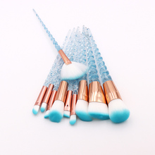 10pcs Blue Purple Unicorn Makeup Brushes Set Powder Eyeshadow Foundation Lip Brush Crystal Diamond Make up brush Kits maquiagem