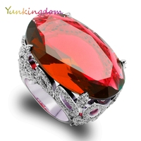Big Oval Cutting Luxury Evening Banquet Rings Red Zircons Garnet Finger Ring Female