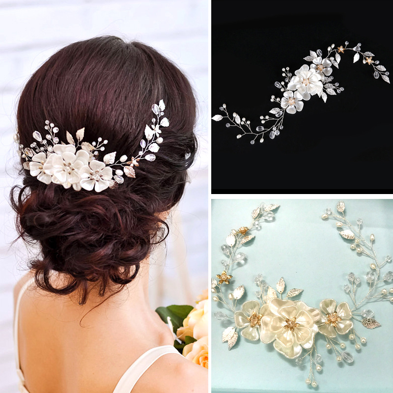 SLBRIDAL Handmade Wired Crystal Rhinestone Pearls Flower Wedding Hair accessories Hair Vine Hairband Bridal Headband Bridesmaids women crystal baroque flower headband handmade floral crown hairband party wedding wreath bridal headdress hair accessories