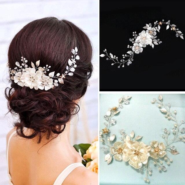 SLBRIDAL Handmade Wired Crystal Rhinestone Pearls Flower Wedding Hair accessorie