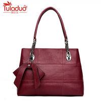 Pu Leather Women Handbags Bowknot Tassel Shoulder Bag Classic Striped Women Bags Large Women Bag Luxury