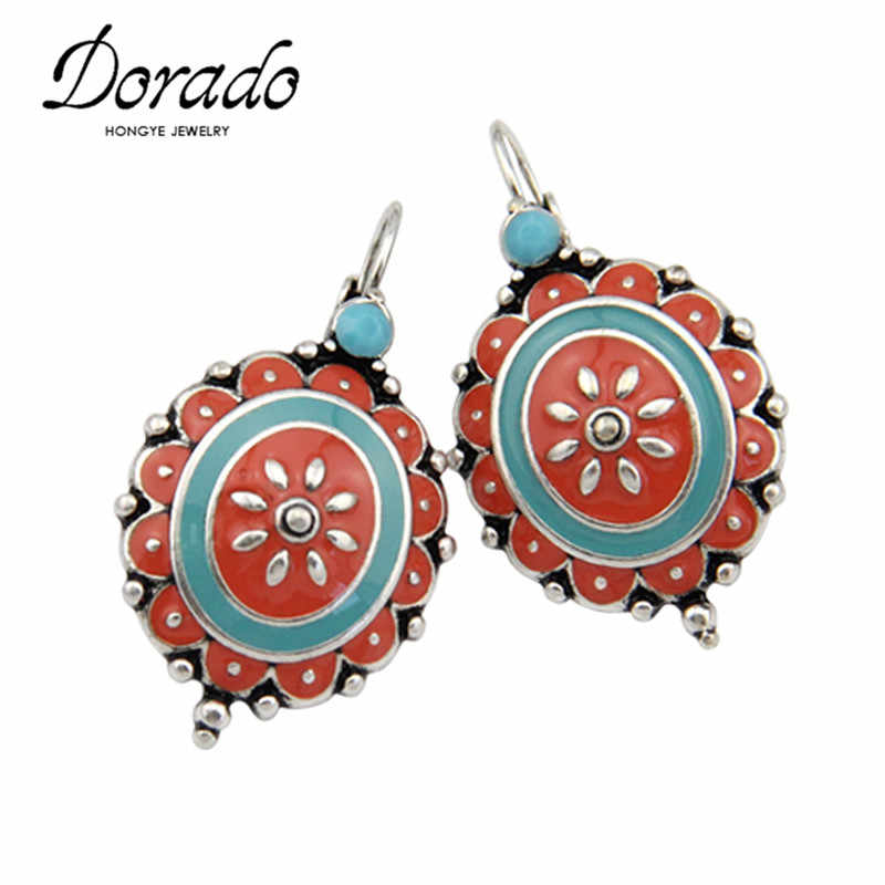 Enamel Flower Drop Earrings For Women Silver Color Alloy Ethnic Statement Punk Female Dangle Hanging Earring Fashion Ear Jewelry