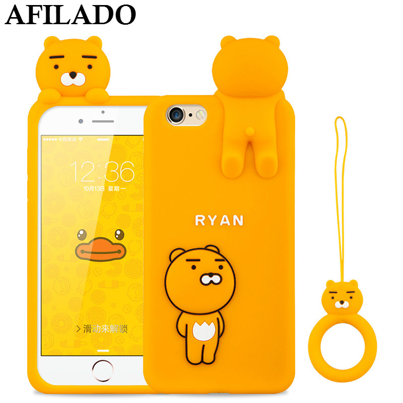 Fashion Cartoon Yellow Bear Ryan Soft Rubber Cases Cover