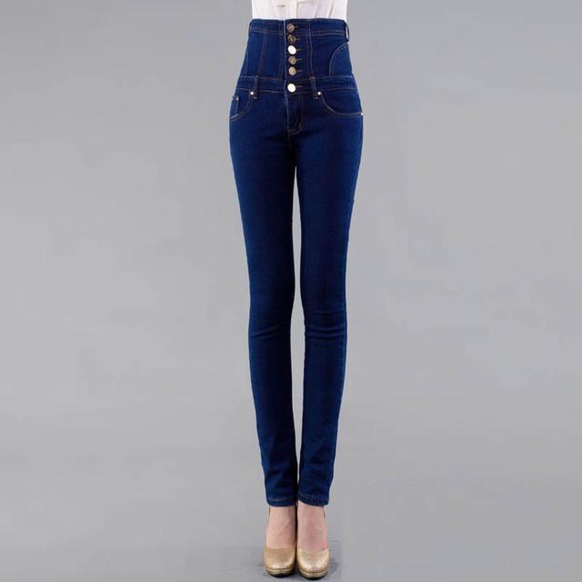 S-6XL Femme Delgado Bodycon de Cintura Alta Jeans Denim Mujer Pantalones Casuales pantalones Vaqueros Más Tamaño Lápiz Negro Azul DTY01