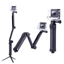 3 vie Monopiede Bastone Selfie Treppiede Per Gopro Hero 7 6 5 4 3 + Sessione Xiaomi Yi 1 2 4K Lite SJCAM di Azione di Sport Della Macchina Fotografica Accessori