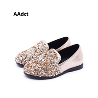 AAdct Glitter bright diamond Princess children shoes Leather flats girls shoes Party high quality loafer kids shoes