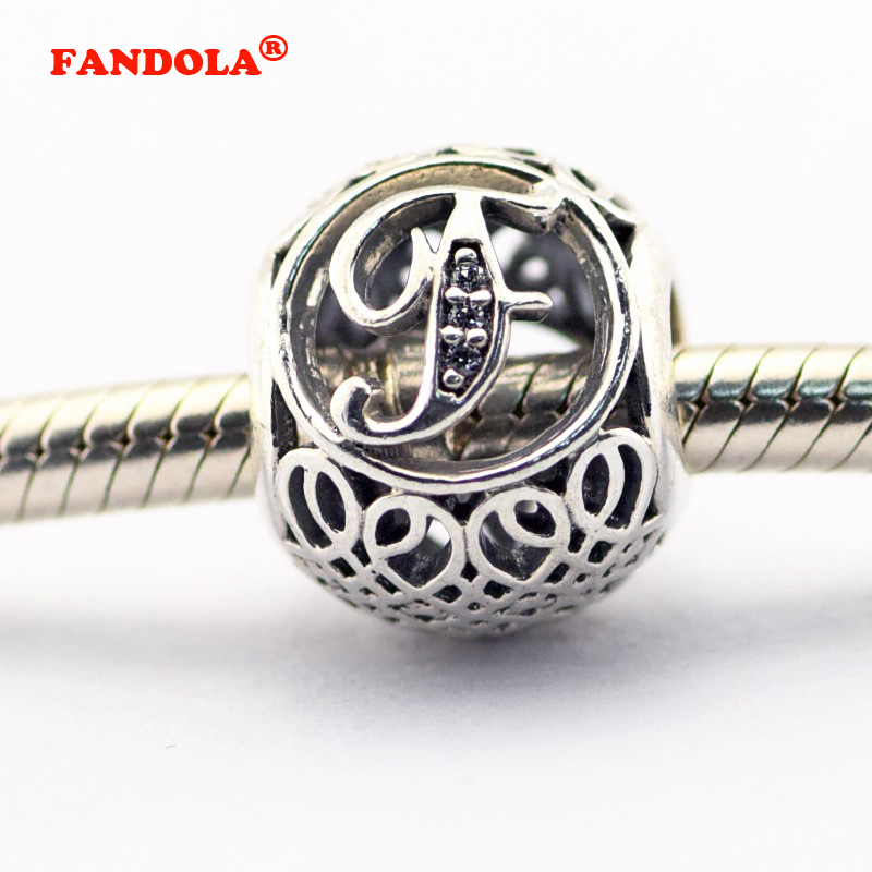 925 Sterling Silver Jewelry Fits Pandora Charms Bracelets Vintage F with Clear Cubic Zirconia Beads Free Shipping