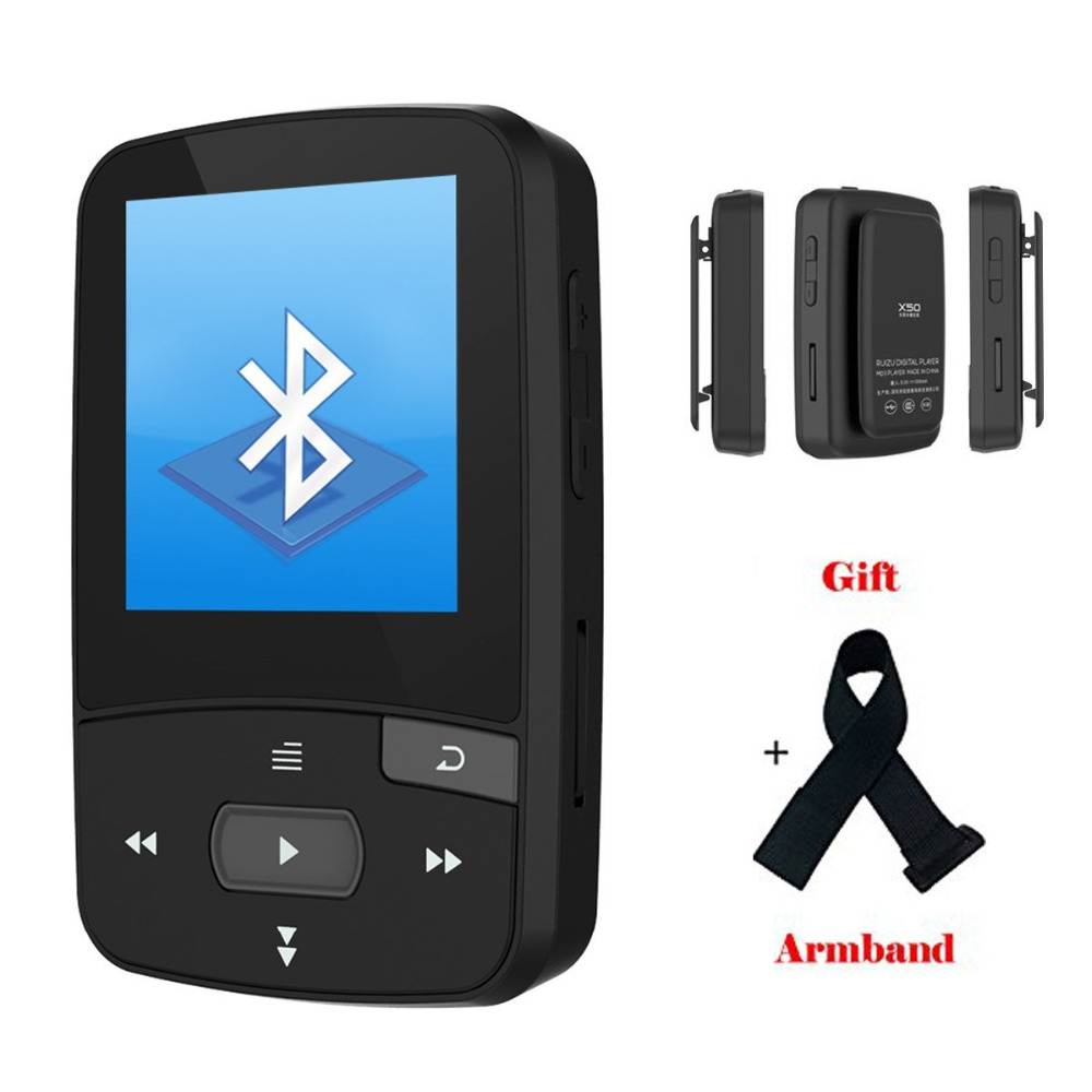 Original RUIZU X50 Mini Sport Clip Bluetooth mp3 player 8GB music player Support TF Card FM