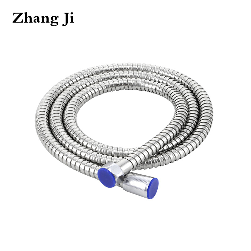 ZhangJi Stainless Steel 1.5m Shower Hose Soft Shower Pipe Flexible Bathroom Water Pipe Silver Color Common Plumbing Hoses