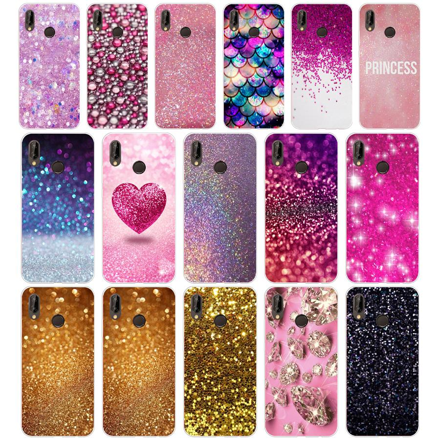 105sd Roze Geel Goud Glitter Zachte Siliconen Tpu Cover Case Voor Honor 10 Huawei P Mate 10 20 Lite Y5 Y6 Prime 2018