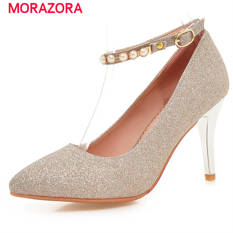 MORAZORA Wedding shoes bride shallow pointed toe high heels shoes woman big size 32-43 women pumps elegant buckle