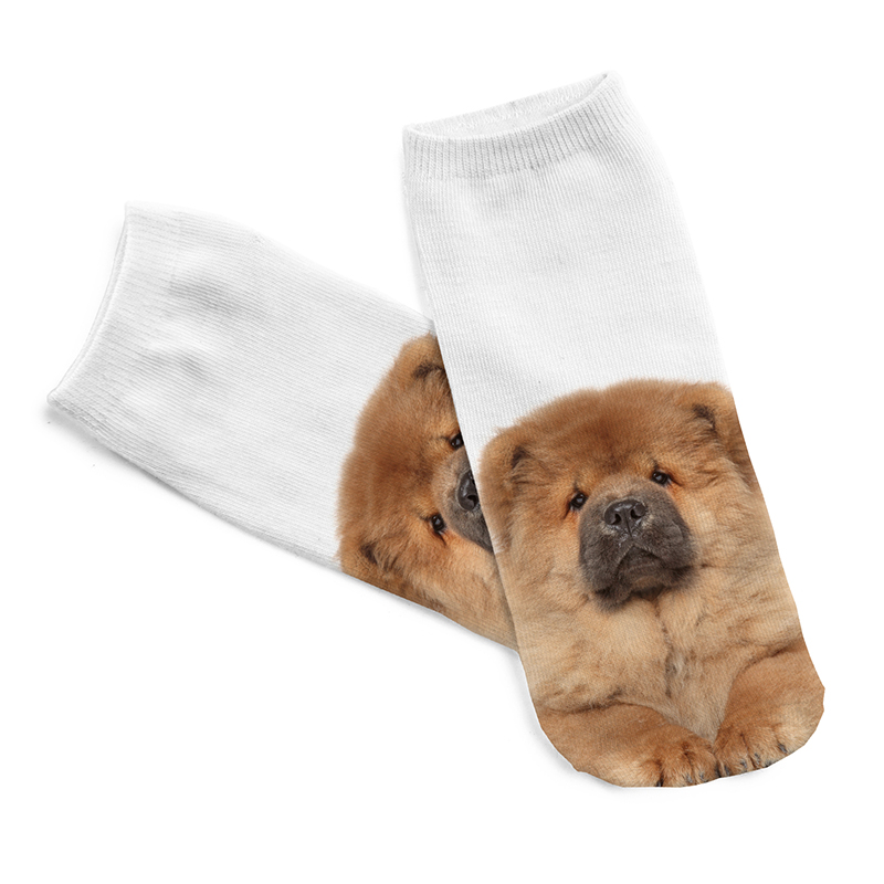 2019 New 3D Digital Printed Chow Dog Women Socks Unisex Fashion Cute Short Sock Women Low Cut Dress Sock Hot Beautiful Wholesale