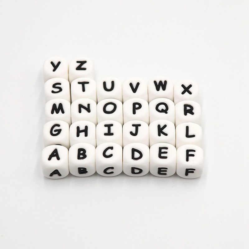 Chupeta de silicone para bebês, pulseira de silicone de letras em inglês e alimentos, para mastigar bebês, colar com clipe, joias de mordedor, 1 pc/lote