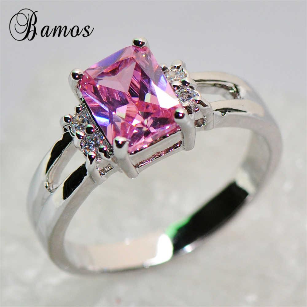 Бамос романтическое женское милое платье принцессы розового цвета с кольцо с фианитом класса ААА кольцо 925 пробы серебро ювелирные изделия Винтаж обручальные кольца для Для женщин