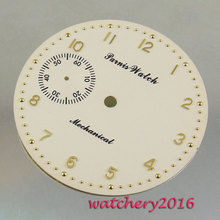 새로운 38.9mm 옐로우 화이트 다이얼 로즈 골드 번호 6497 무브먼트 남자 시계 다이얼