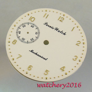 Image 1 - New 38.9mm yellow white dial rose golden Numbers fit 6497 movement Mens Watch dial