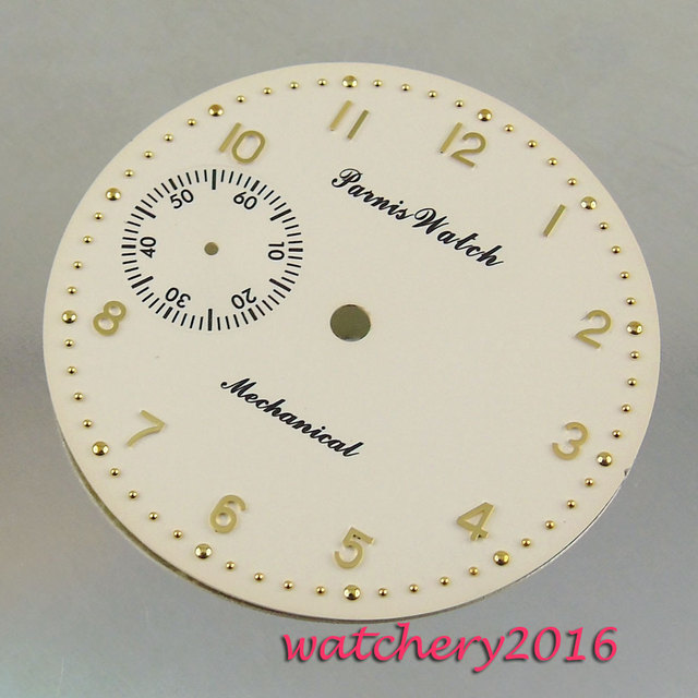 New 38.9mm yellow white dial rose golden Numbers fit 6497 movement Mens Watch dial