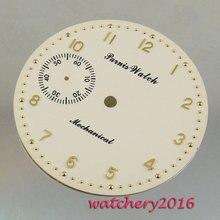Nouveau 38.9mm jaune blanc cadran rose or chiffres fit 6497 mouvement montre pour hommes cadran