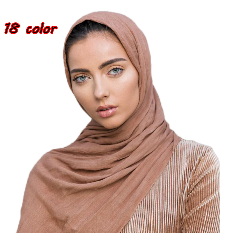 High quality women 100% Rayon crinkle   scarf   cotton wrinkle muslim hijab   wraps   headband long   scarves   14 color 180*95cm 10pcs/lot