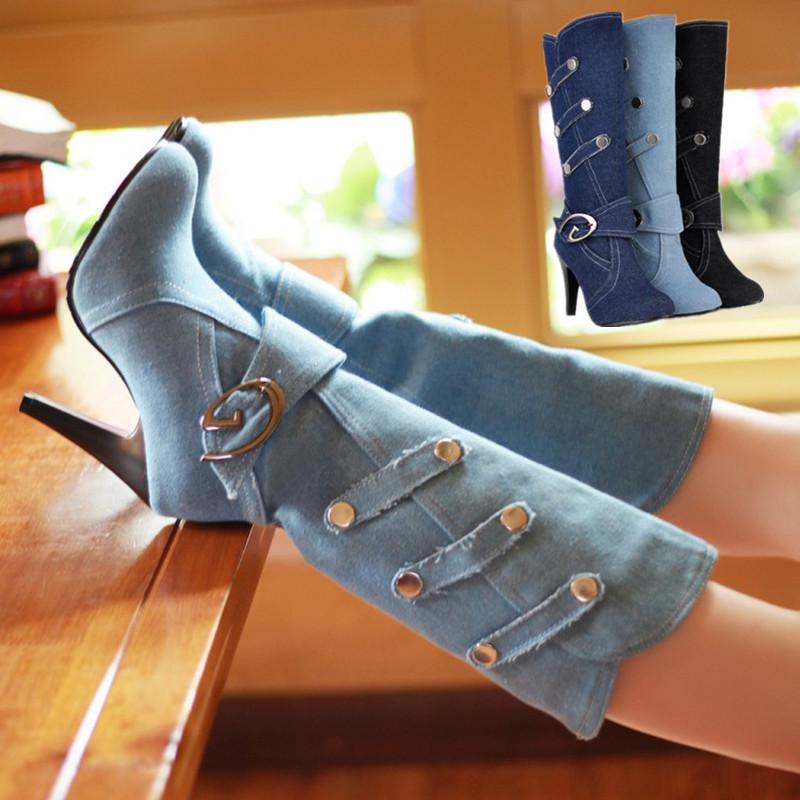 Boots high heels tight High jeans boots fashion plus size Denim Boots Buckle Strap Women High Boots MAZIAO