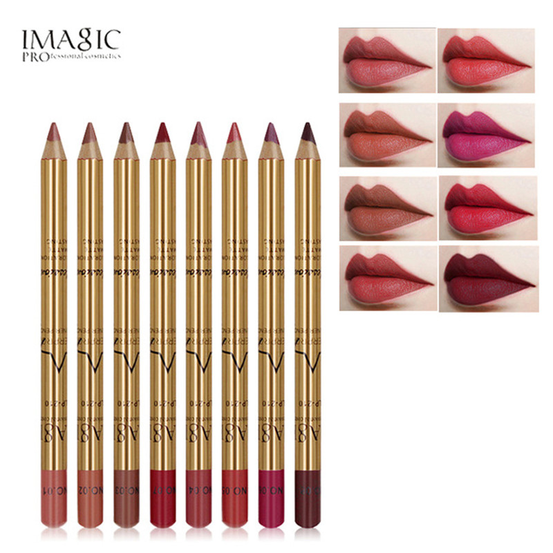 IMAGIC 2018 New Matte Lipliner <font><b>Set</b></font> <font><b>Makeup</b></font> Waterproof 3D Contour <font><b>Lips</b></font> Pigment Red <font><b>Lipstick</b></font> <font><b>Lip</b></font> Liner Pencil Women Beauty Tool image