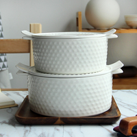 The soup bowl large ears relief household ceramic soup with a lid with ear microwave ceramic tableware bowl