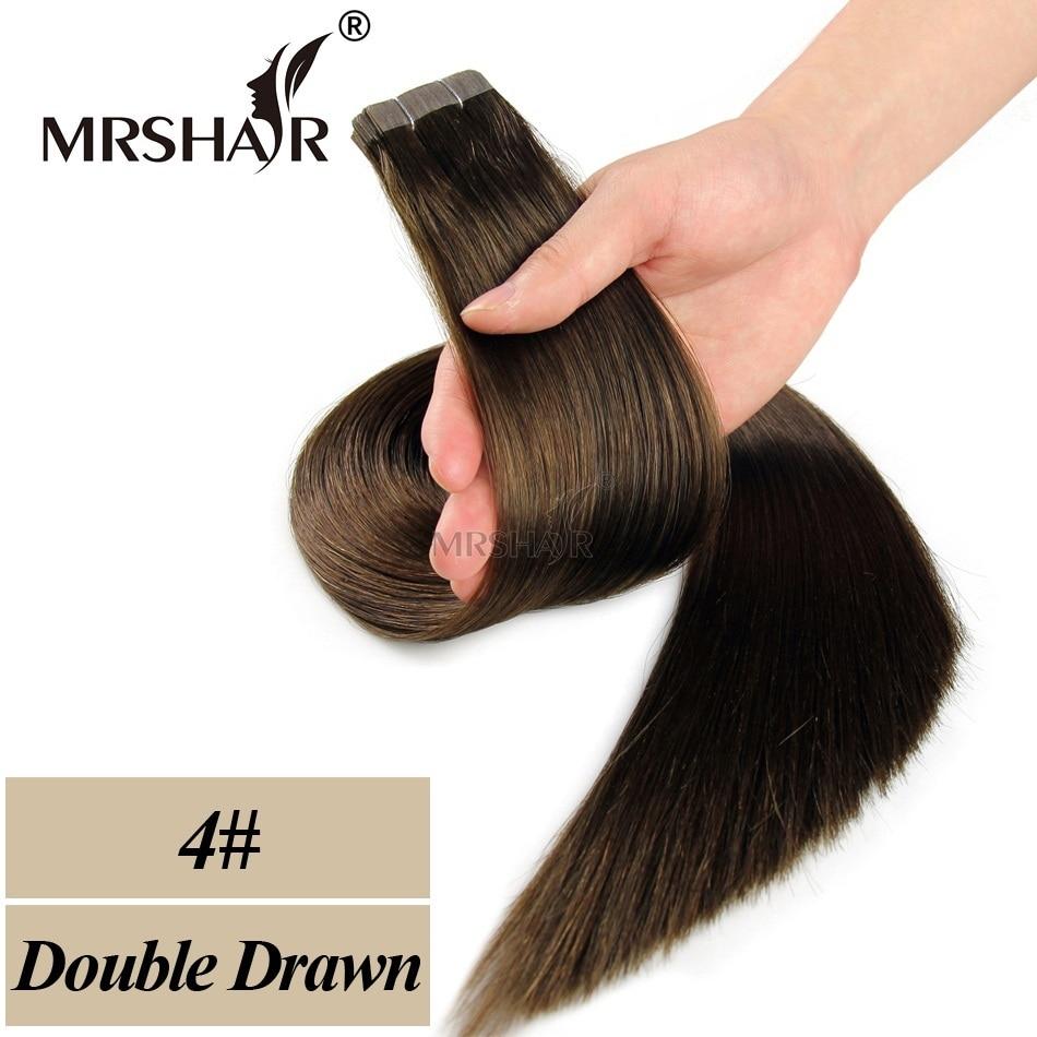 MRSHAIR Double Bande Dessinée Dans Les Extensions De Cheveux Humains - Cheveux humains (blanc) - Photo 4