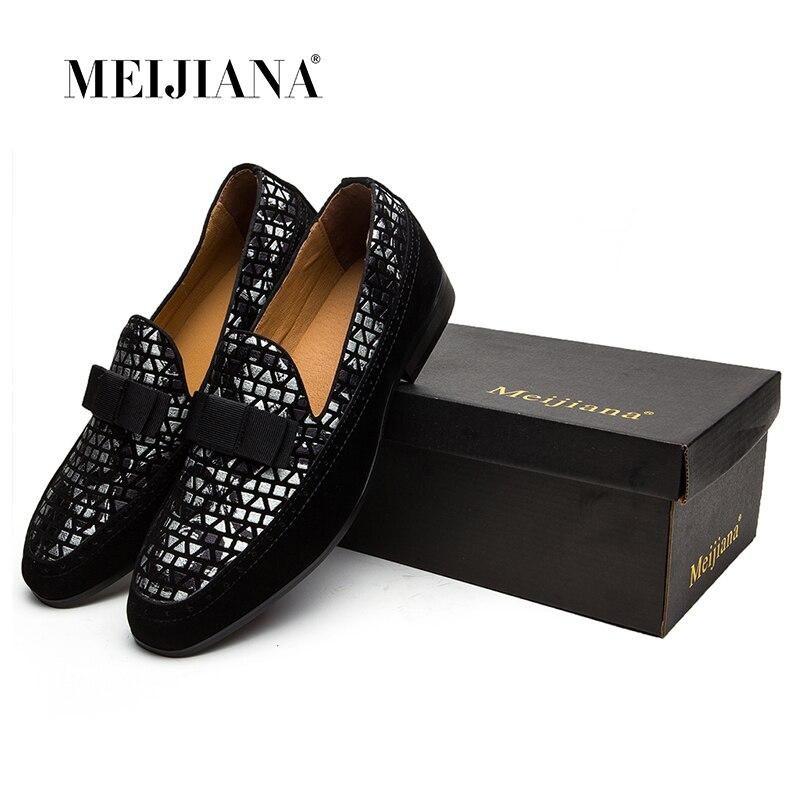 Ручной работы из натуральной Лакированная кожа и нубук в стиле пэчворк с бабочкой Для мужчин свадебные Черная обувь на выход Для Мужчин's Ба...