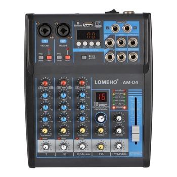 LOMOEHO AM-04 2 Mono + 1 Stereo 4 kanały Bluetooth USB 48V Phantom profesjonalny mikser Audio DJ tanie i dobre opinie LOMEHO Miksery Pakiet 1 4 Channel ( 2 Mono +1 Stereo ) 48V DC Bluetooth Audio Mixer WAV MP3 echo delay 100-240V Party DJ Karaoke