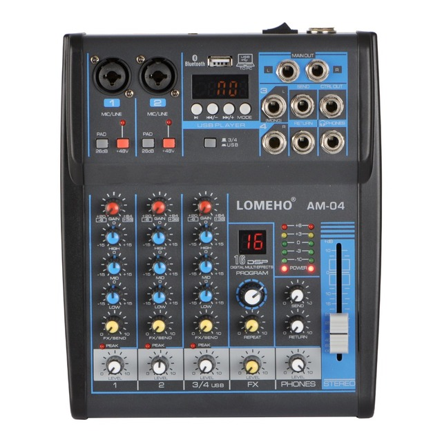 LOMOEHO AM 04 2 Mono + 1 4 canales estéreo Bluetooth USB 48V Phantom mezclador de Audio profesional DJ