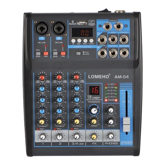 LOMOEHO AM 04 2 Mono + 1 Stereo 4 kanały Bluetooth USB 48V Phantom profesjonalny mikser Audio DJ