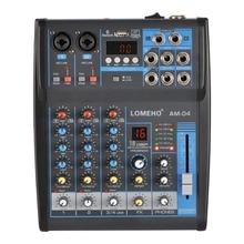 LOMOEHO AM 04 2 Mono + 1 Stereo 4 kanal Bluetooth USB 48V fantom profesyonel DJ ses mikseri