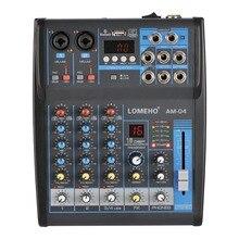 Lomoeho am 04 2 mono + 1 estéreo 4 canais bluetooth usb 48v fantasma dj profissional misturador de áudio