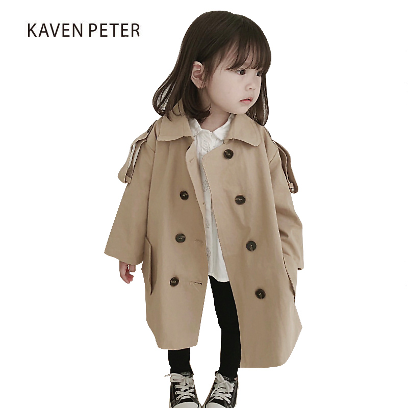 2018 Autumn Fashion long Trench Coat for children Classic Double Breasted khaki Trench Coat girl boy long Outerwear loose clothe city 2018 women winter trench coat with sash faux fur coat maxi length novelty fashion slim trench coat female trench coat 541