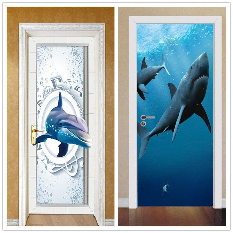 2pcs 77*200cm Dolphin with Glue Self Adhesive Wallpaper Art PVC 3D Wall Sticker Brick Waterproof Wall Paper For Door Sticker