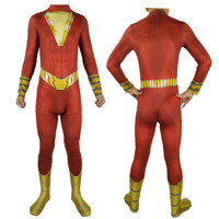 Shazam Cosplay Captain Marvel Costume Billy Batson Jumpsuit Costumes Marvel Suit Superhero Halloween Costume For Adults Men Kids