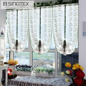 Cortina de tul para ventanas romanas, 1 Uds., cortinas de gasa bordadas, cortinas frescas para cribado de cocina y sala de estar