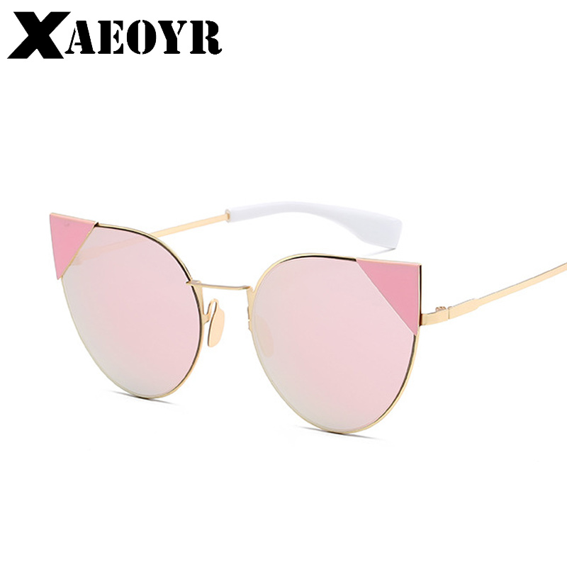 XAEOYR 2018 New Hot Sale High Quality Women Sunglasses Fashion Pink Sun Glasses Ladies Cat Eye Glasses Metal Eyewear