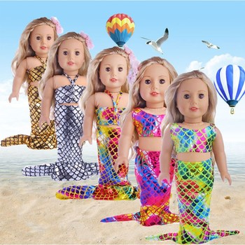 Born Baby Doll Clothes Fit 18 inch 40-43cm Mermaid Accessories For Birthday  Gift