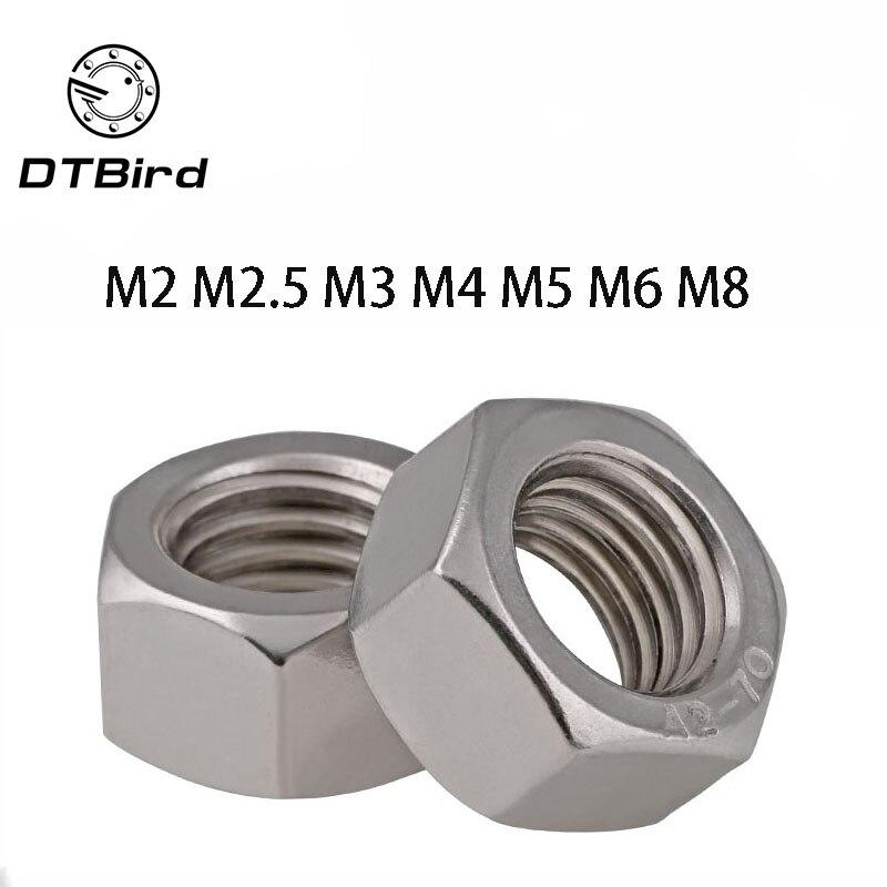 50Pcs DIN934 M2 M2.5 M3 M4 M5 M6 M8 304 Stainless Steel Metric Thread Hex Nut Hexagon Nuts