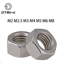 50 Pcs DIN934 M2 M2.5 M3 M4 M5 M6 M8 304 Stainless Steel Metrik Thread Hex Nut Kacang Segi Enam(China)