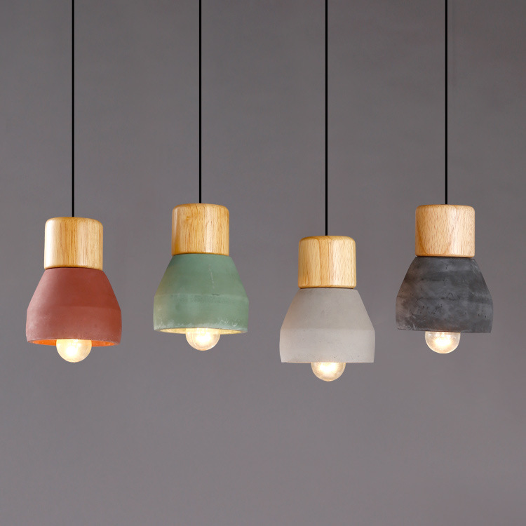 Nordic Ash Wood Cement Pendant Lamp Modern Concret Red Blue Black Gray Cement Pendant Light Drop Home Light Vintage Dining Room Lamp (8)