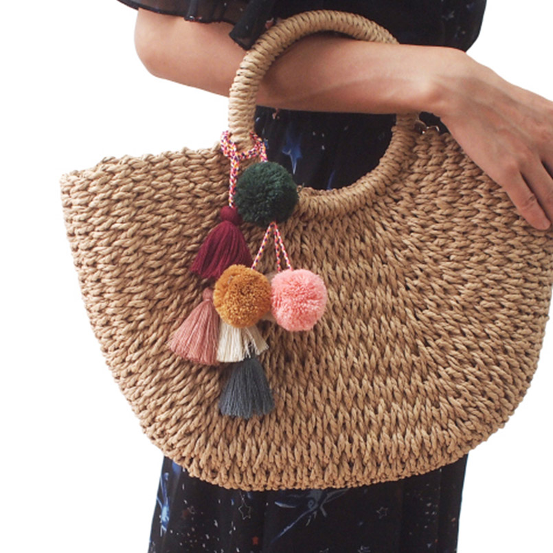 MANILAI Bohemian Handmade Bag Pendant Women Charm Pompom Multicolor Cotton Tassels Big Ball Bag Fashion Accessories