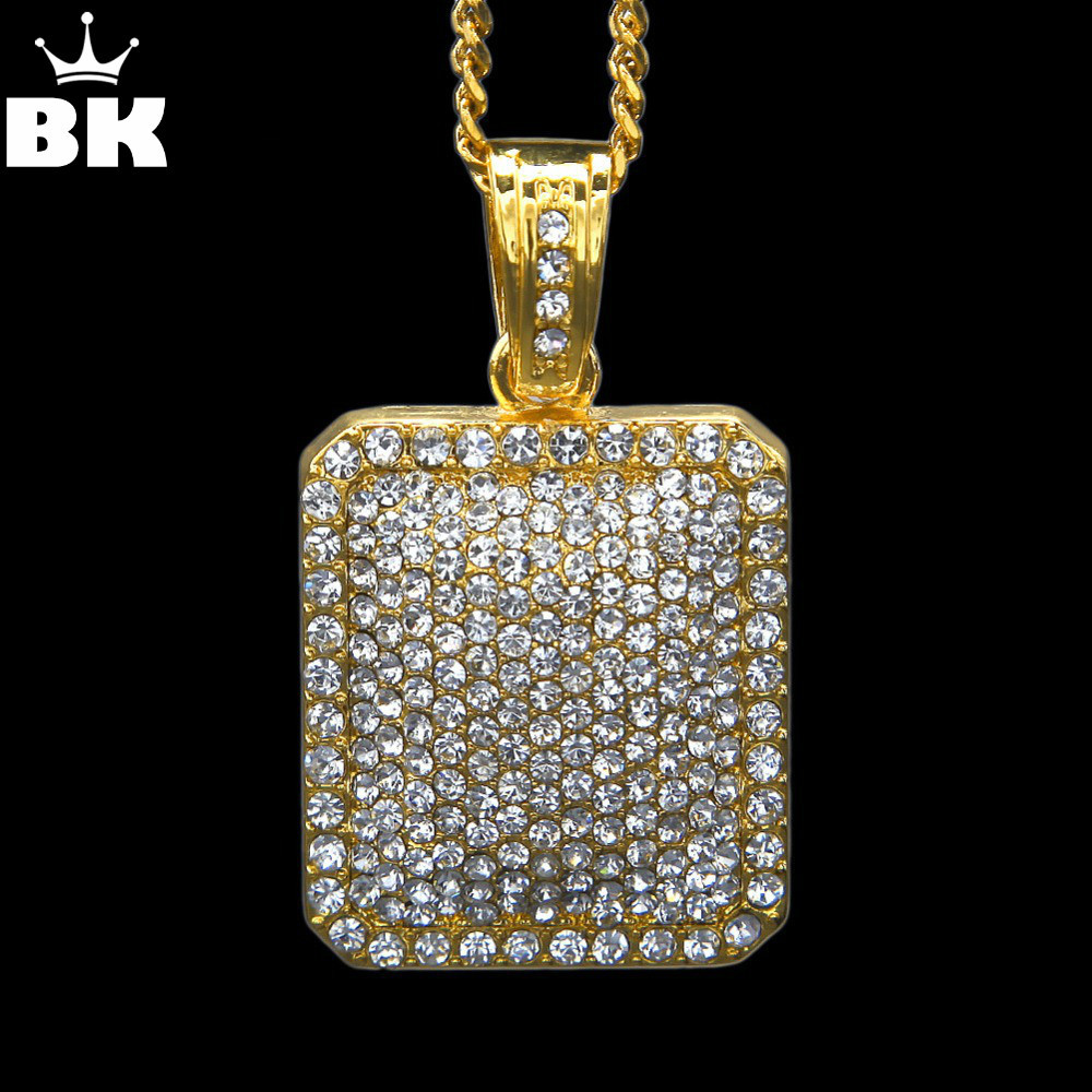 Mens Full Iced Out Rhinestone Gold Silver Color Square Dog Tag Pendant 5mm*30'' /3mm*24