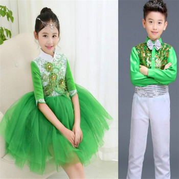 Boys and girls jazz dance Latin costumes host ballroom competition dresses kids for
