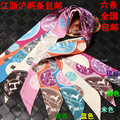 Bags handle silk scarf small ribbon hair band scarf women's twilly bandeaus h badge
