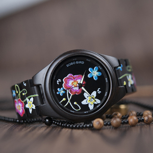 Image 5 - BOBO BIRD WP06 Fashion Colorful Print Wood Watch for Men Women Newest Imitate Embroidery Brand Design Quartz Watches as Gift