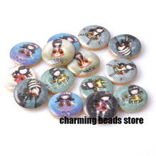 fashion Girl painted Wooden decorative Buttons for Scrapbooking Craft Sewing Supplies 25mm 10pcs MT0435X